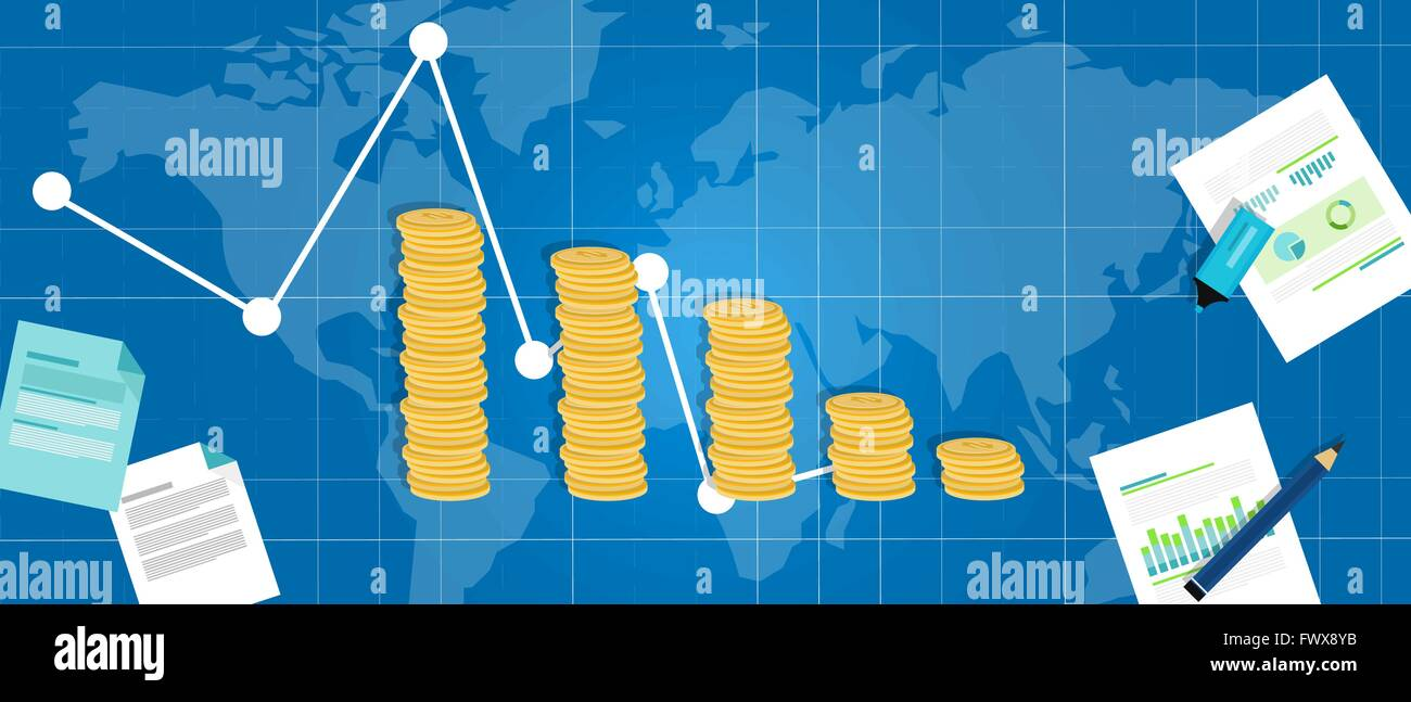 economic financial down crisis recession gdp drop - Stock Image