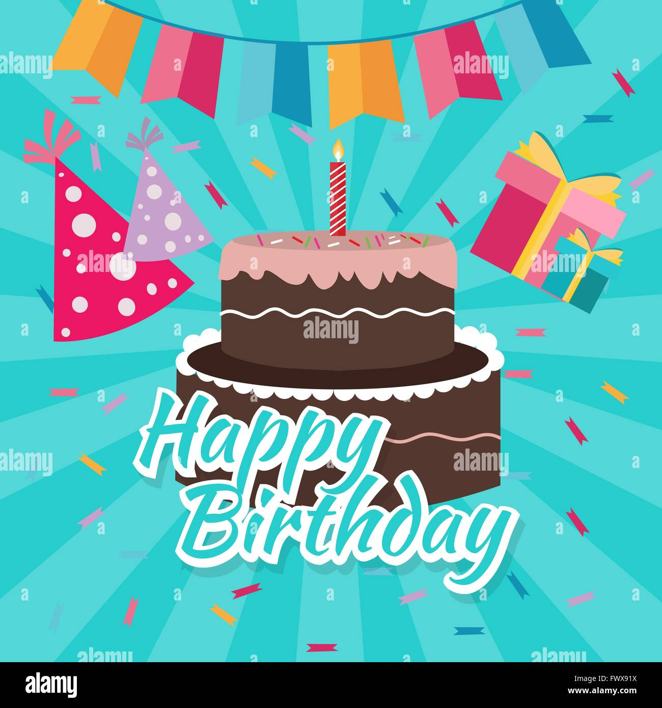 Celebrate Happy Birthday Cake Flat Illustration Vector Greetings