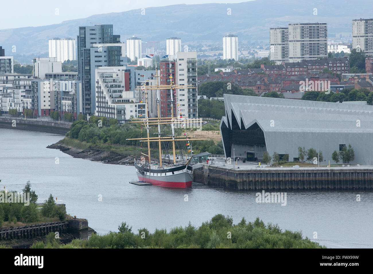 Aerial picture of Glasgow Riverside Museum  designed by Dame Zaha Mohammad Hadid. - Stock Image