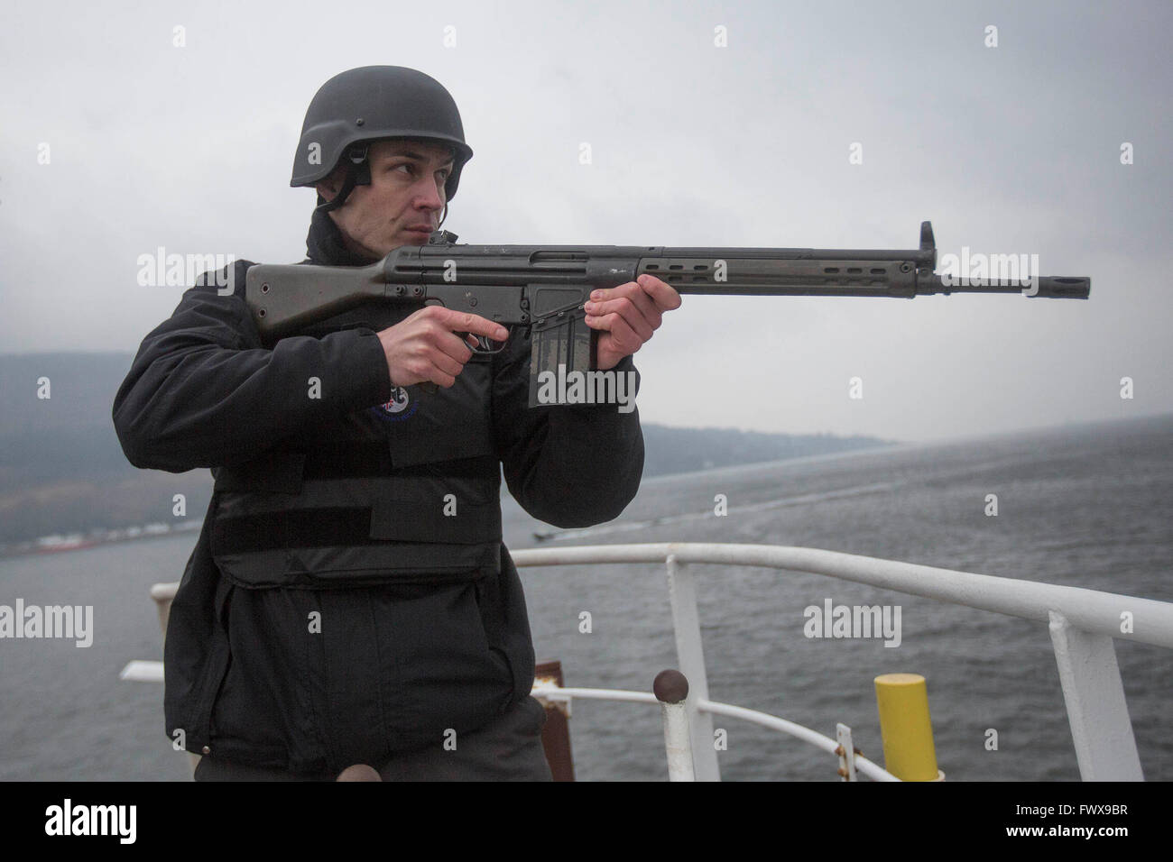Anti piracy training at the Holy Loch in Dunoon. - Stock Image