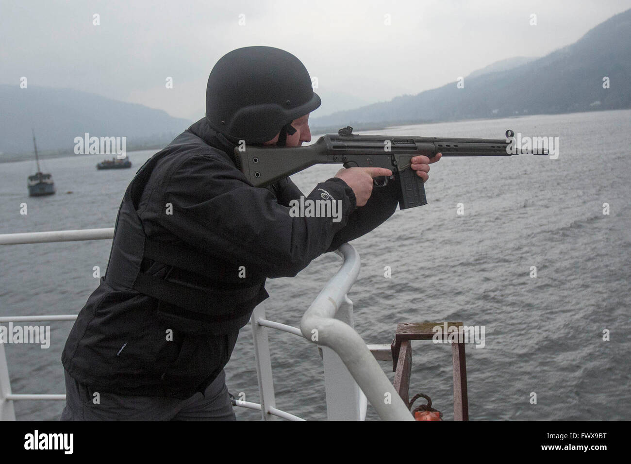 Anti piracy training at the Holy Loch in Dunoon, Scotland - Stock Image