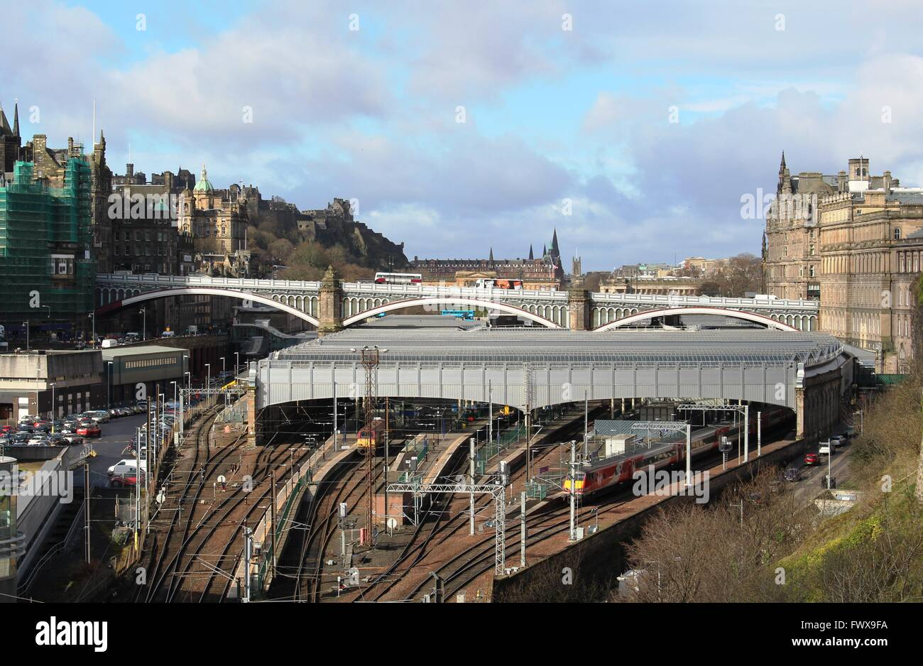 View of east side of Waverley railway station and North Bridge crossing the station in the center of Edinburgh, - Stock Image