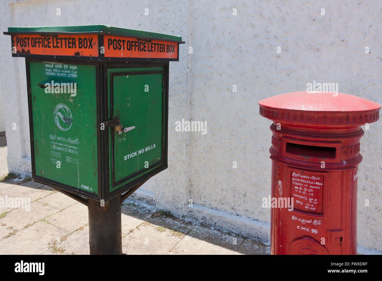 Postal box in Colombo, Sri Lanka - Stock Image