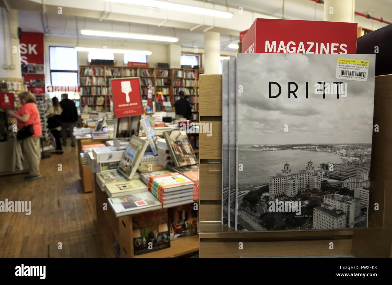 Interior view of Strand Bookstore in Greenwich Village, Manhattan, New York City, USA - Stock Image