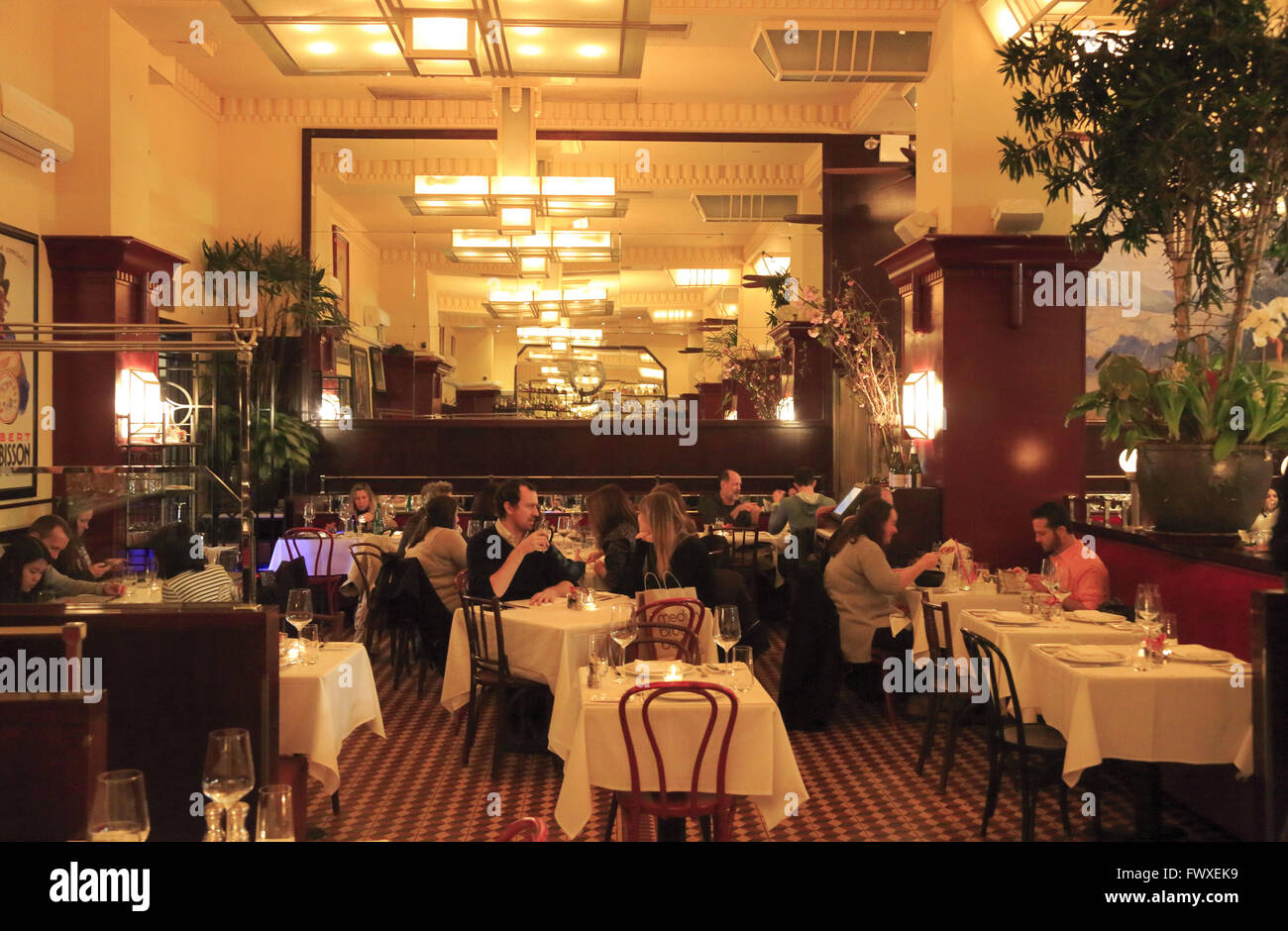 Interior view of French restaurant Artisanal Fromagerie & Bistro, Manhattan, New York City,USA - Stock Image