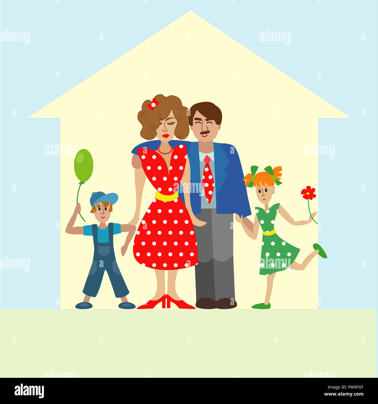 Portrait of four member happy stylish family posing together. Parents with kids. colorful illustration in flat design Stock Photo