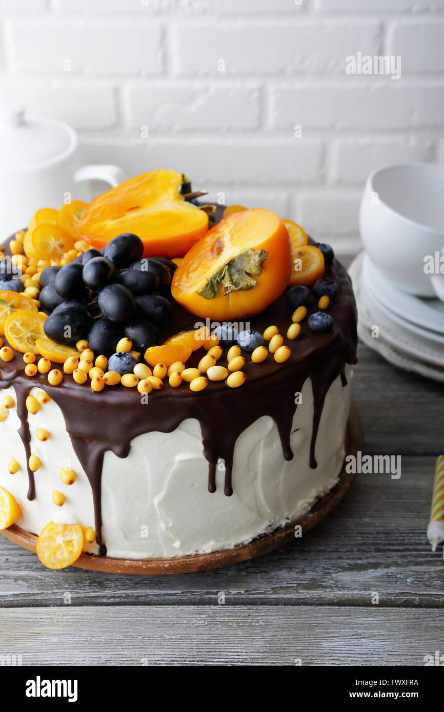 fruit cake with icing, holiday food - Stock Image