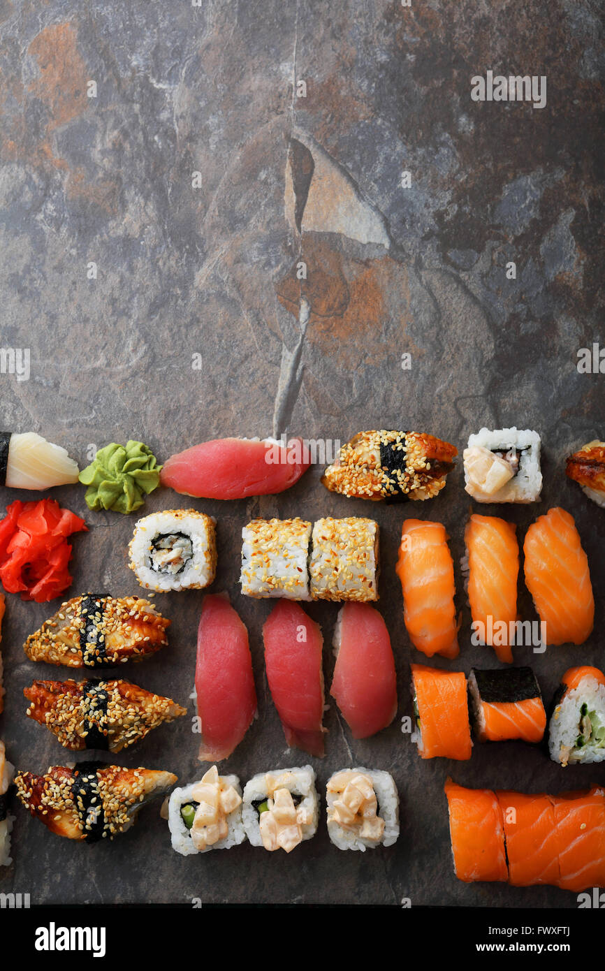 fresh sushi background, food above - Stock Image