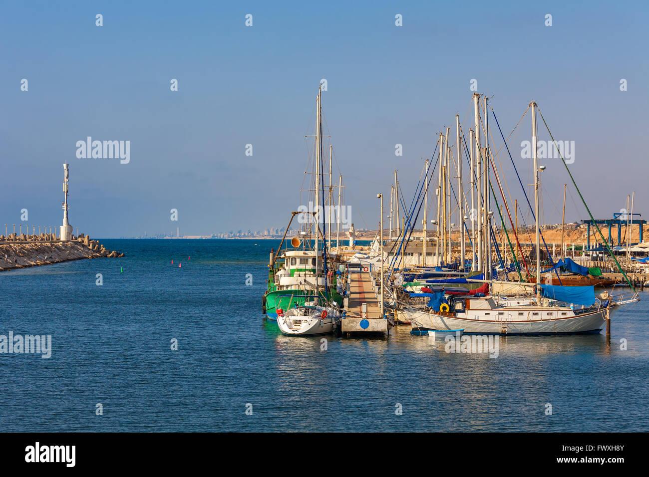 Yachts on marina in Ashqelon - coastal city on Mediterranean sea in Israel. - Stock Image