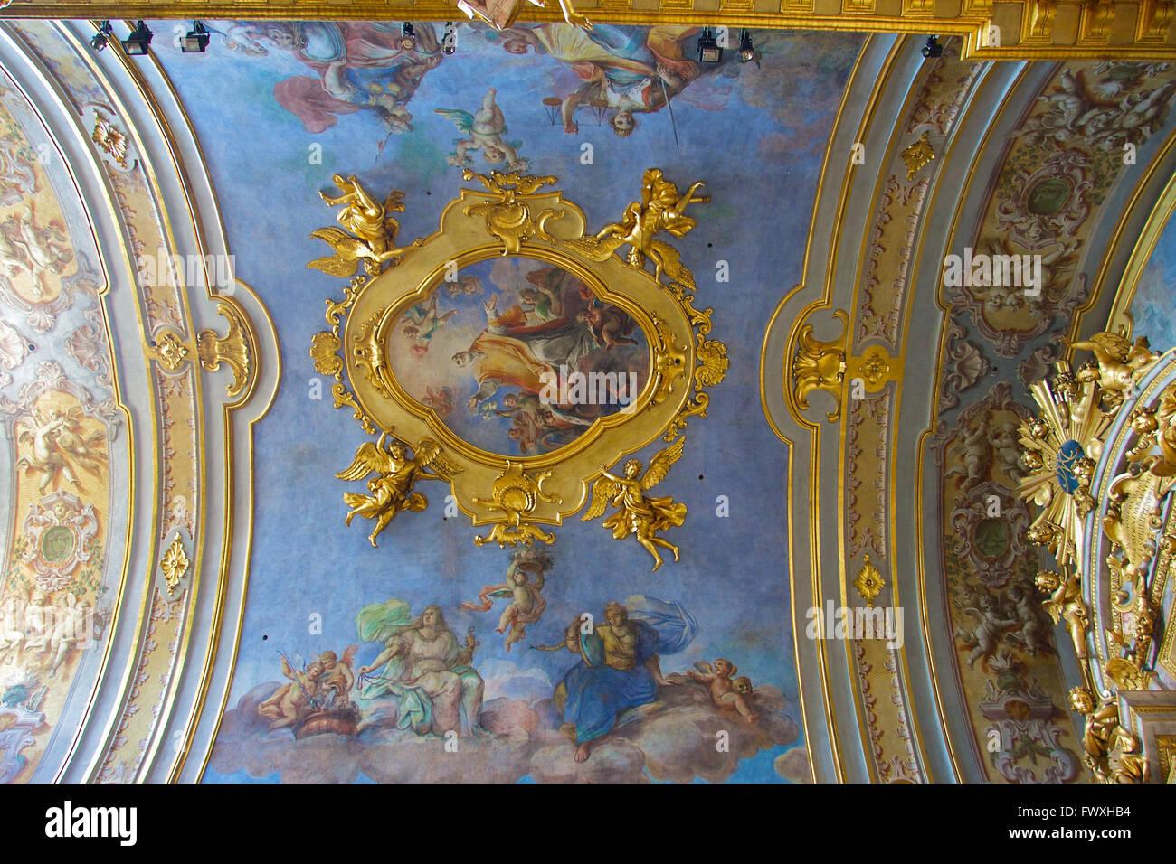 Part of the ceiling of Santa Maria sopra Minerva Church. Stock Photo