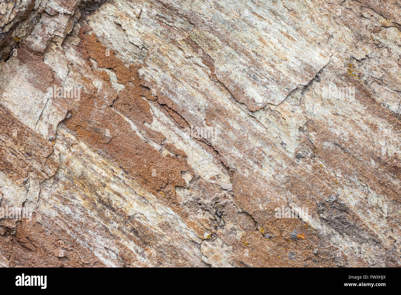 Close-up of shale rock in the mountains in South Tyrol - Stock Image