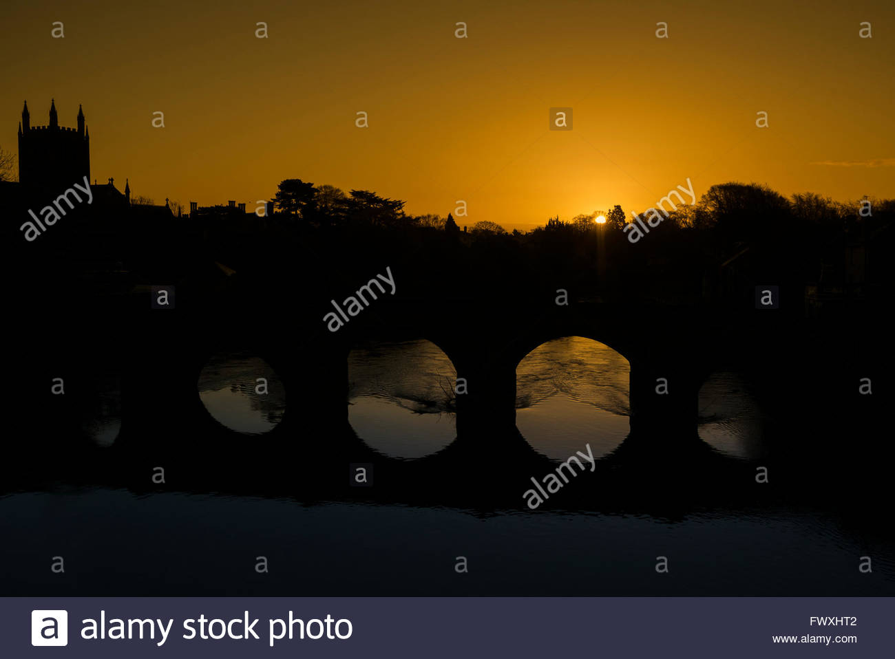 Old Bridge over the River Wye in Hereford City at sunrise, UK. - Stock Image