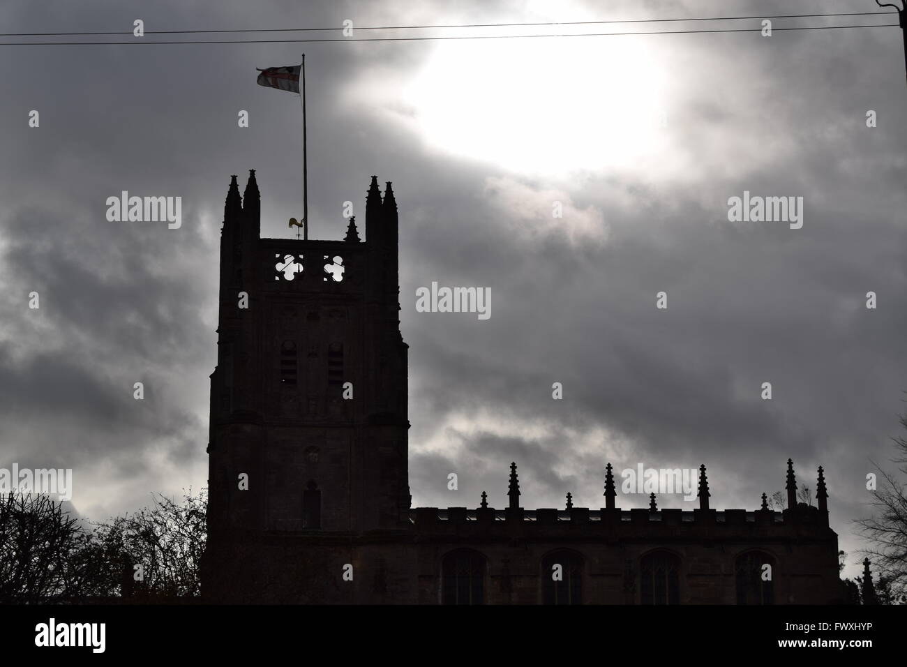 A nice silhouette of the local church in Fairford. - Stock Image