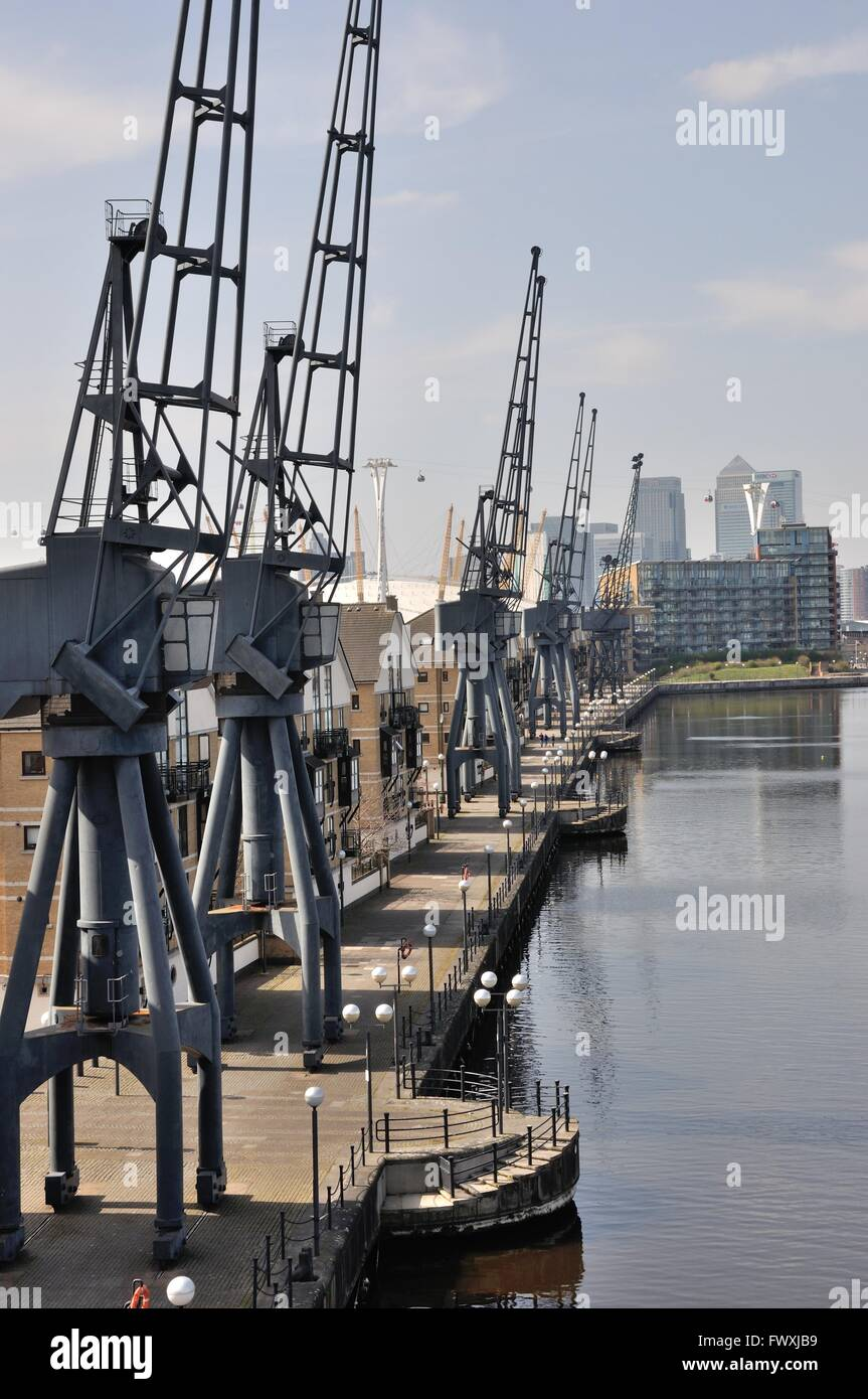 Cranes along the side of the Royal Victoria Dock, Silvertown, East London. - Stock Image