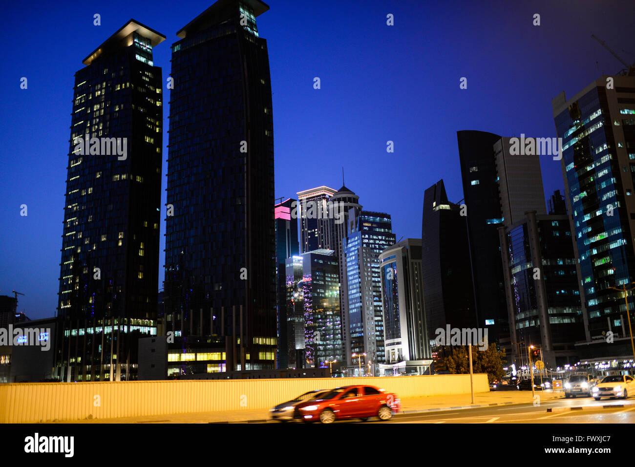 QATAR, Doha, skyscraper east bay / KATAR, Doha, Wolkenkratzer der Eastbay - Stock Image