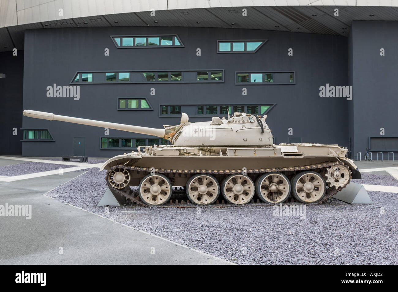 T-55 tank on display outside the Imperial War Museum North near Manchester, UK - Stock Image