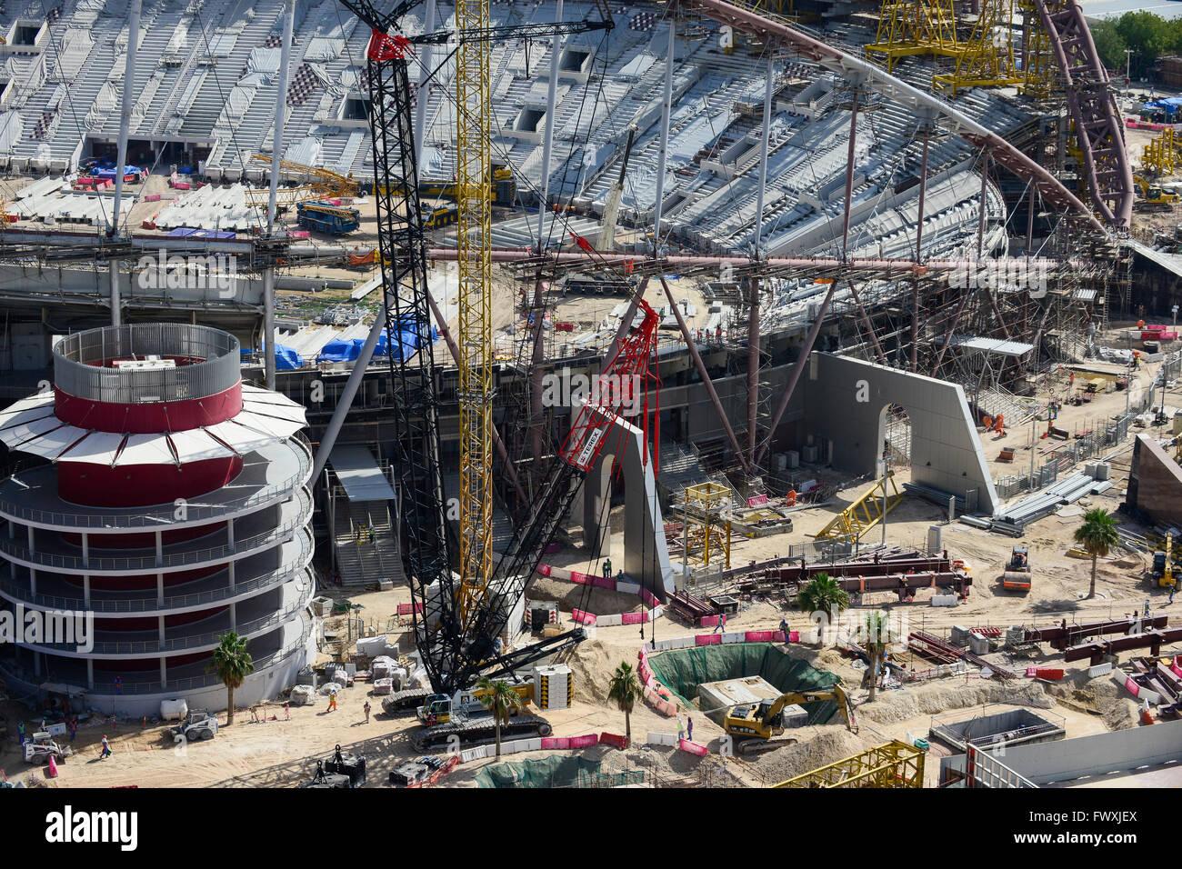 QATAR, Doha, construction site Khalifa International Stadium for FIFA world cup 2022, built by contractor midmac - Stock Image