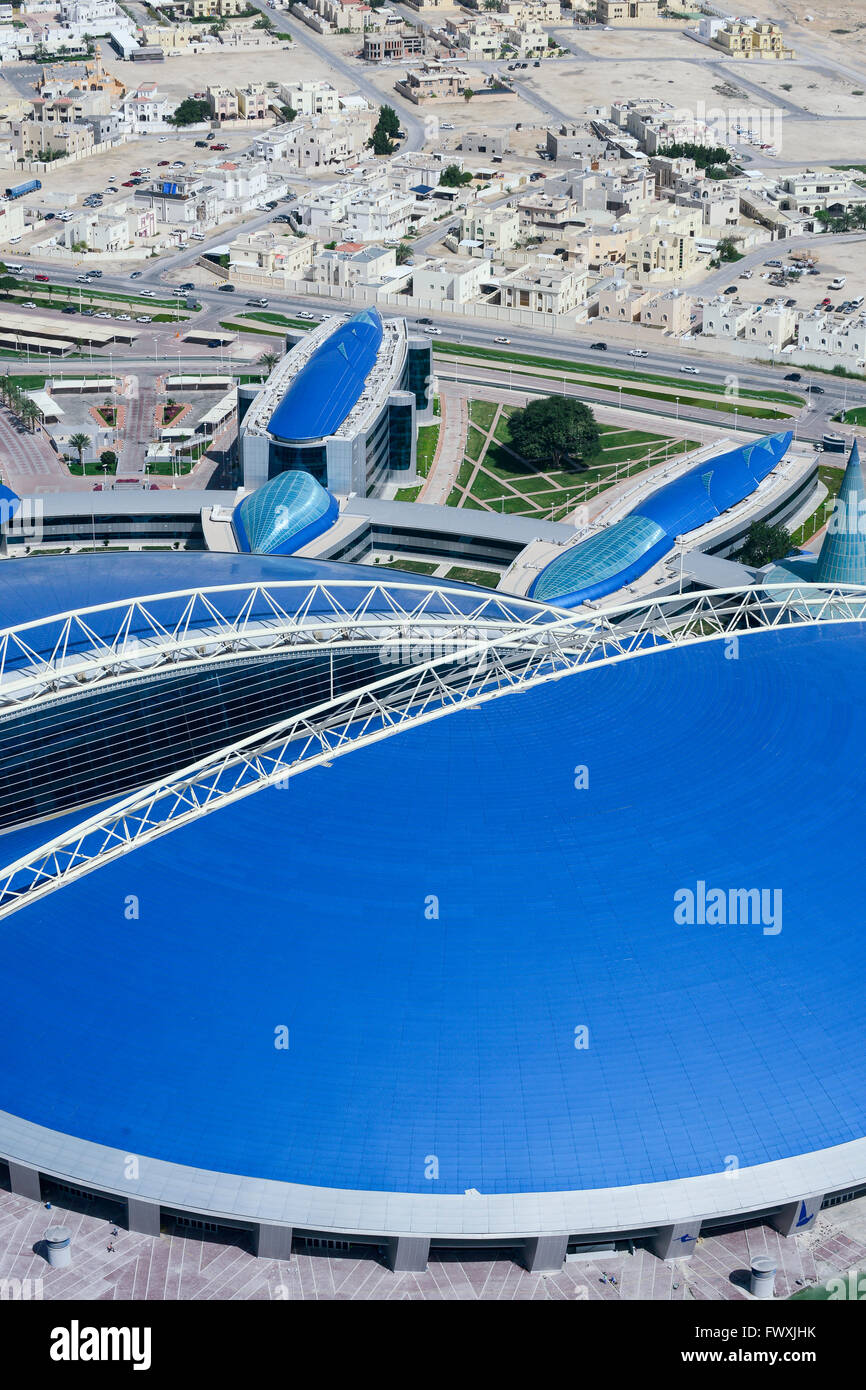 QATAR, Doha, Aspire dome, sportspark at Khalifa International Stadium for FIFA world cup 2022, built by contractor - Stock Image