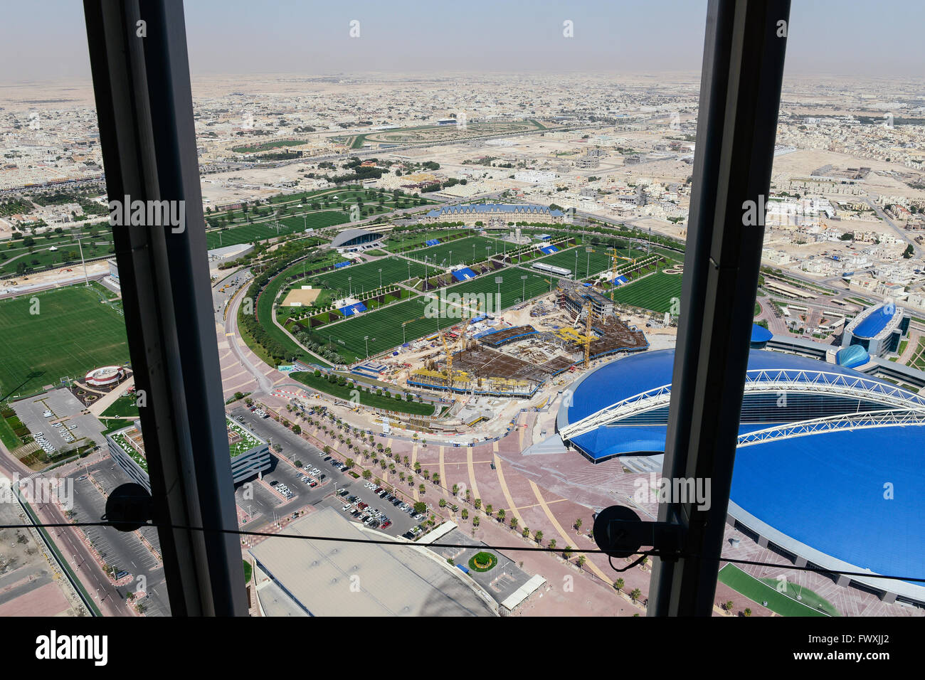 QATAR, Doha, construction site sportspark and Khalifa International Stadium for FIFA world cup 2022, built by contractor - Stock Image
