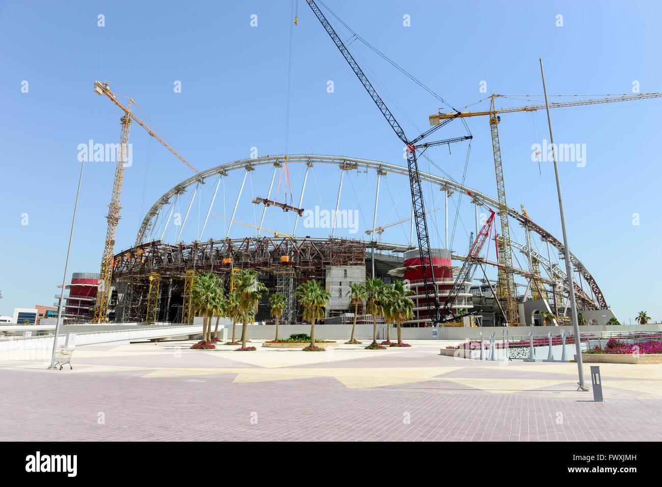 QATAR, Doha, construction site Khalifa International Stadium for FIFA world cup 2022, built by contractor midmac Stock Photo