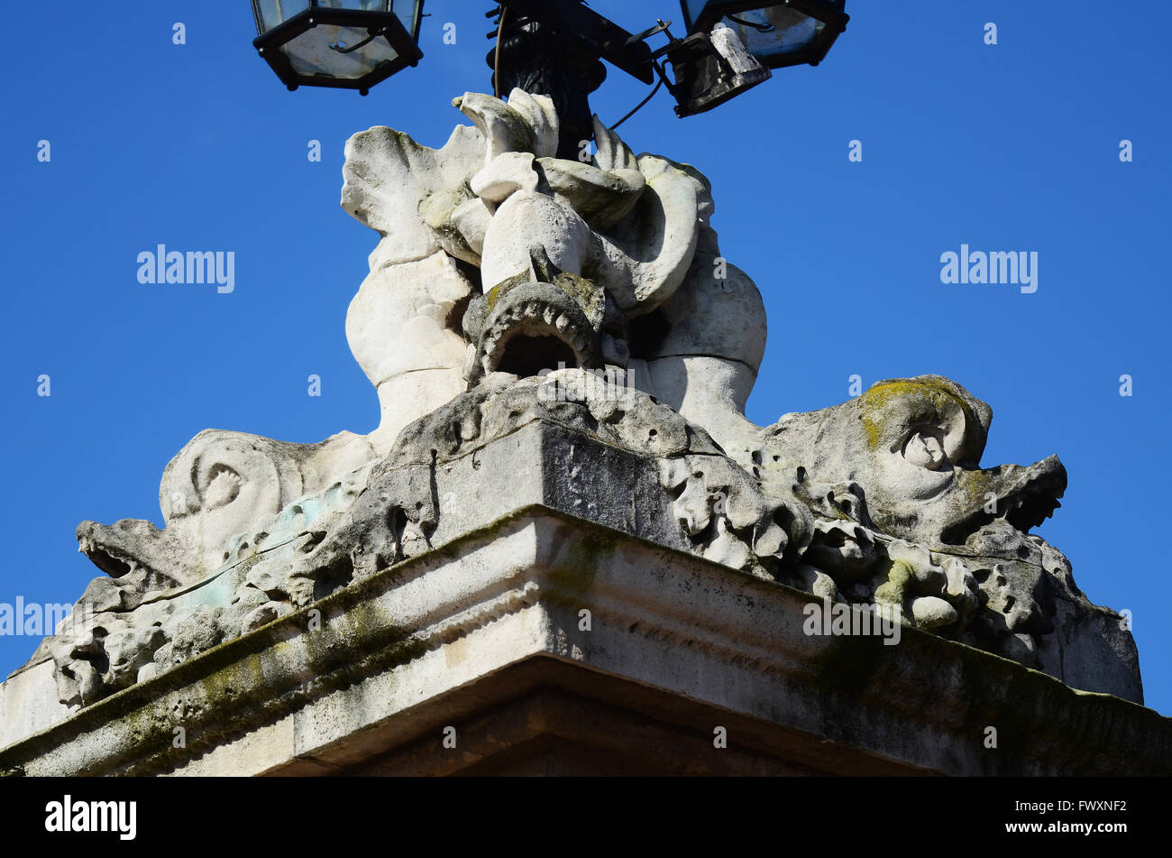 Buckingham Palace is the London residence and principal workplace of the reigning monarch of the UK. East face detail - Stock Image