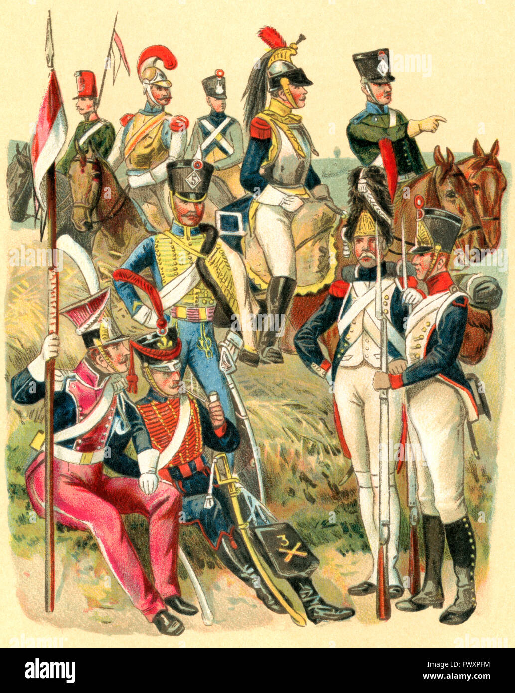 Uniforms of French troops at the time of Napoleon I. - Stock Image