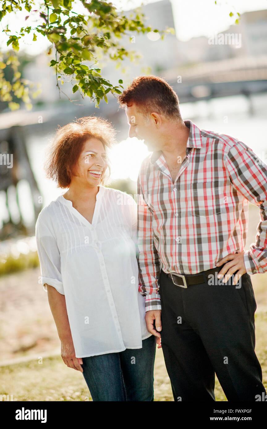 Sweden, Vastra Gotaland, Gothenburg, Mature couple on walk - Stock Image