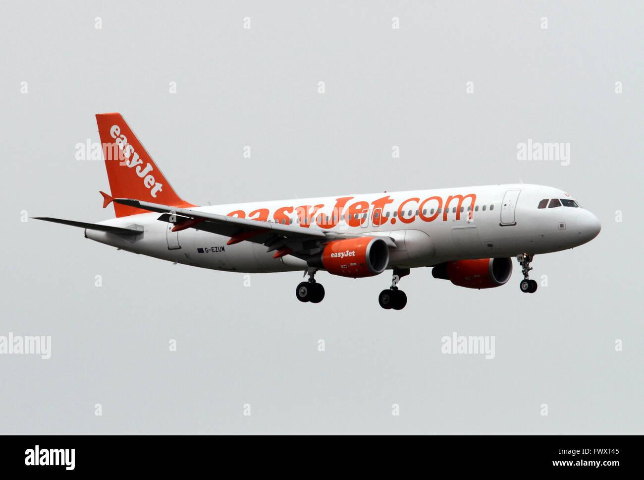 EasyJet, Airbus A320-214 at Linate airport, Milan, Italy Stock Photo