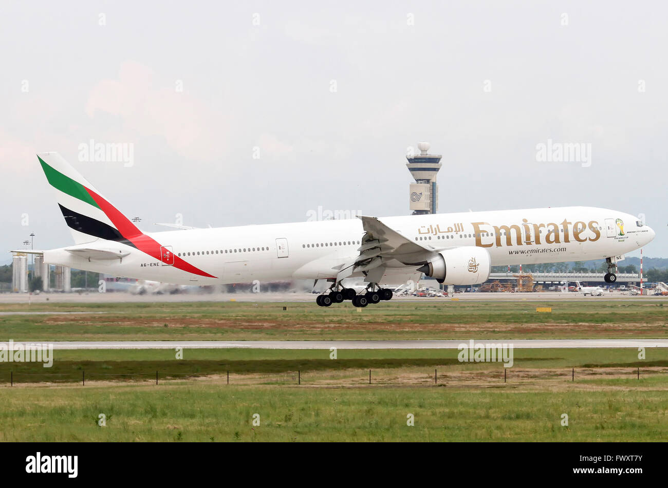 Emirates Airlines, Boeing 777-300 at Linate airport, Milan, Italy - Stock Image