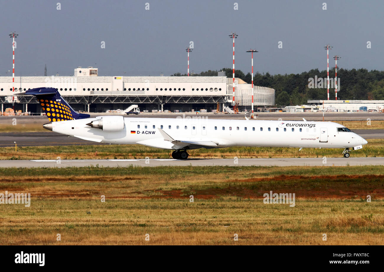 Eurowings Canadair CL-600-2D24 Regional Jet At Milan, Italy - Stock Image