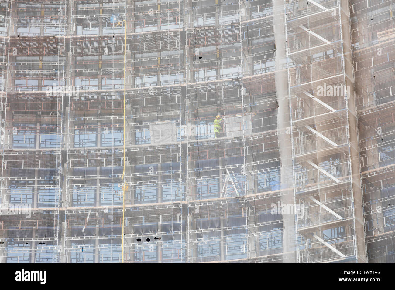 Sweden, Scaffolding on building - Stock Image