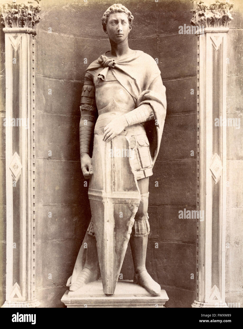St. George in Orsanmichele, Donatello statue, Florence, Italy - Stock Image