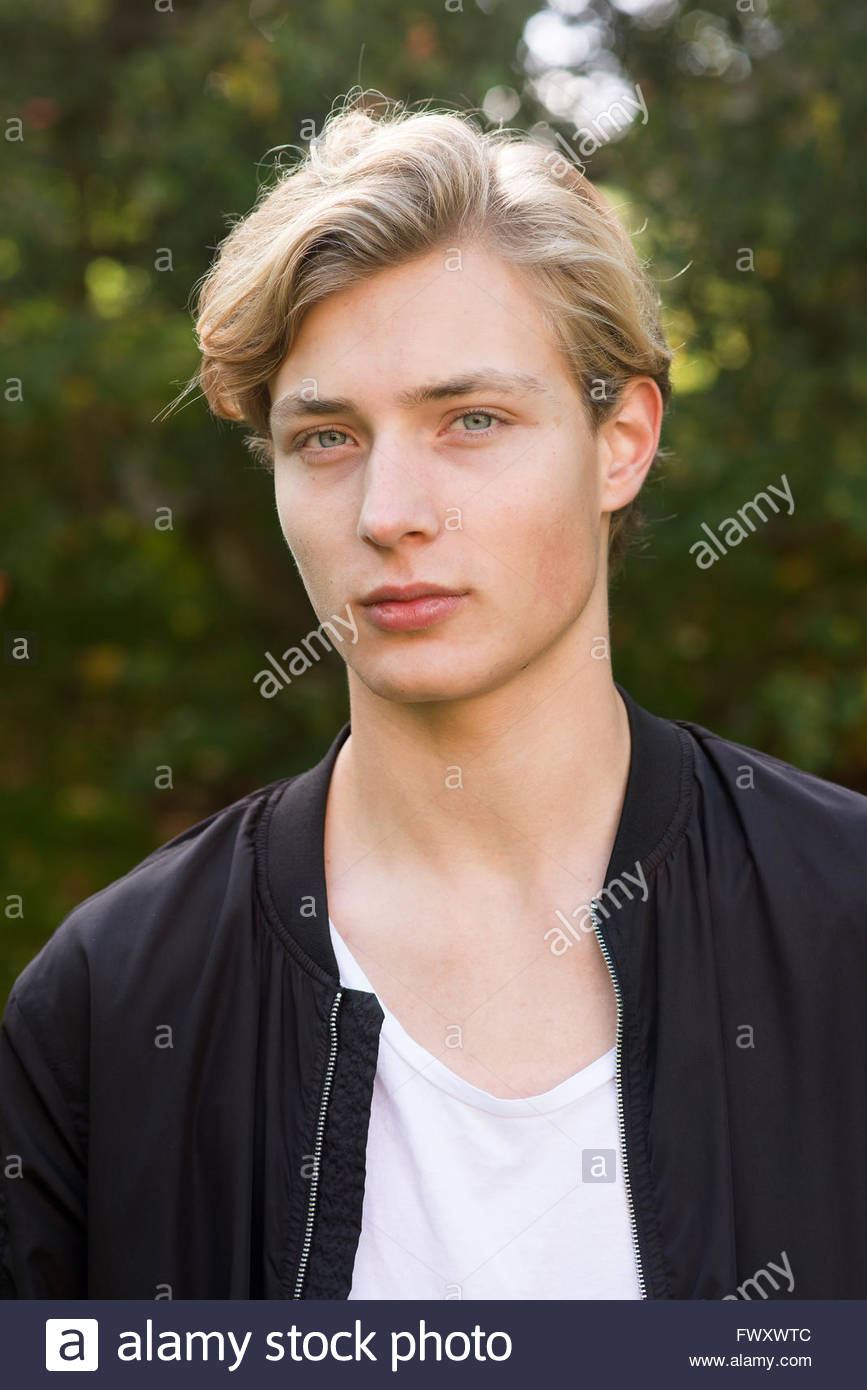 blonde hair and green eyes