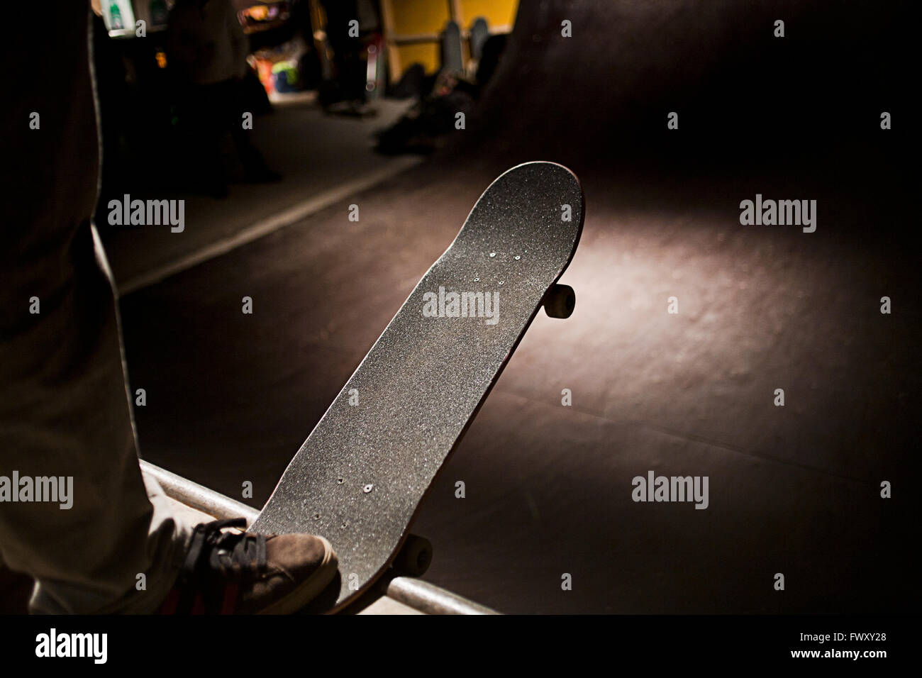 Denmark, Copenhagen, Boy with skateboard - Stock Image