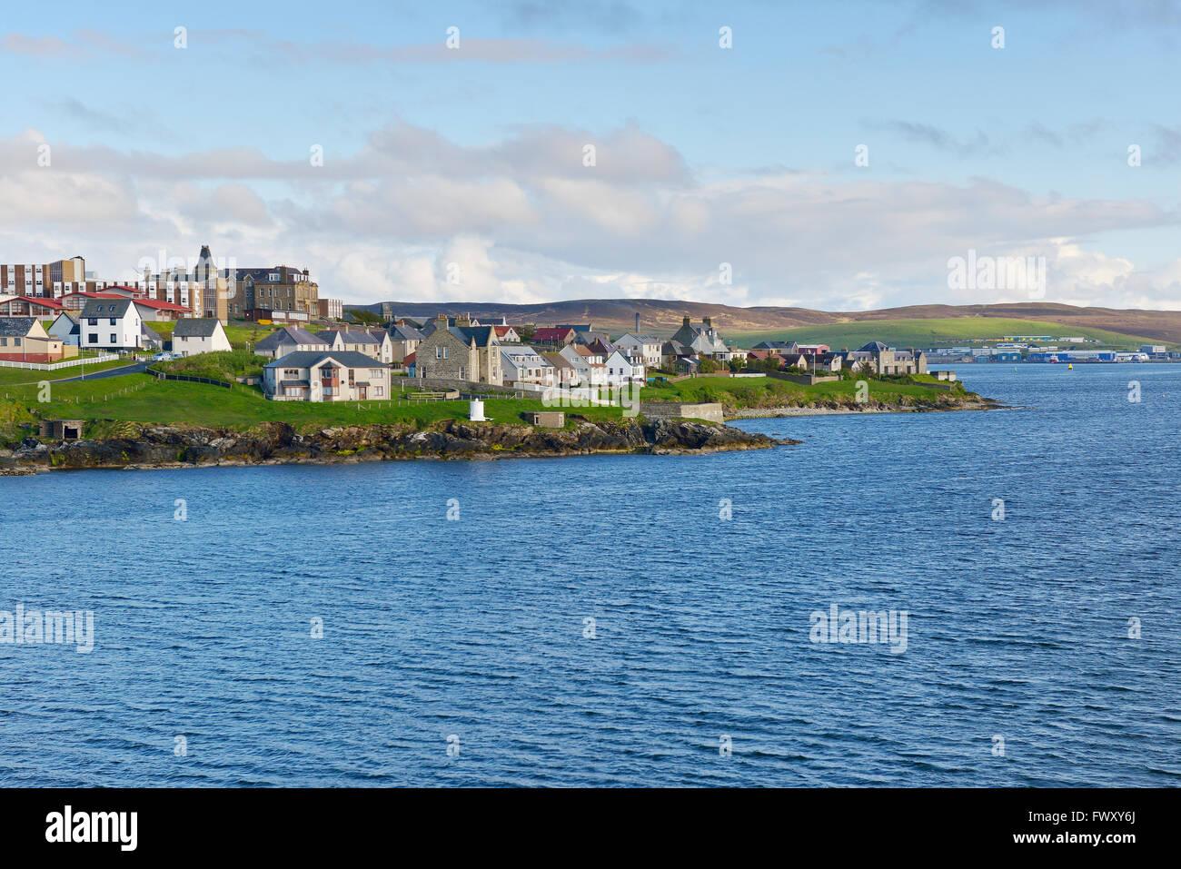 UK, Scotland, Shetland, Lerwick, Town along coastline - Stock Image