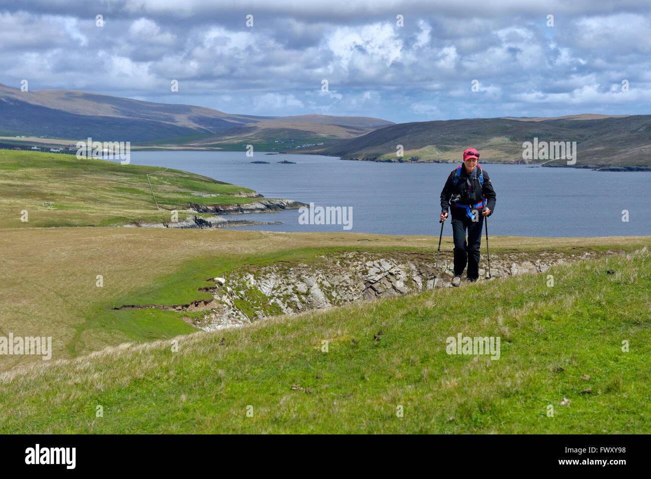 UK, Scotland, Shetland, Senior woman hiking - Stock Image