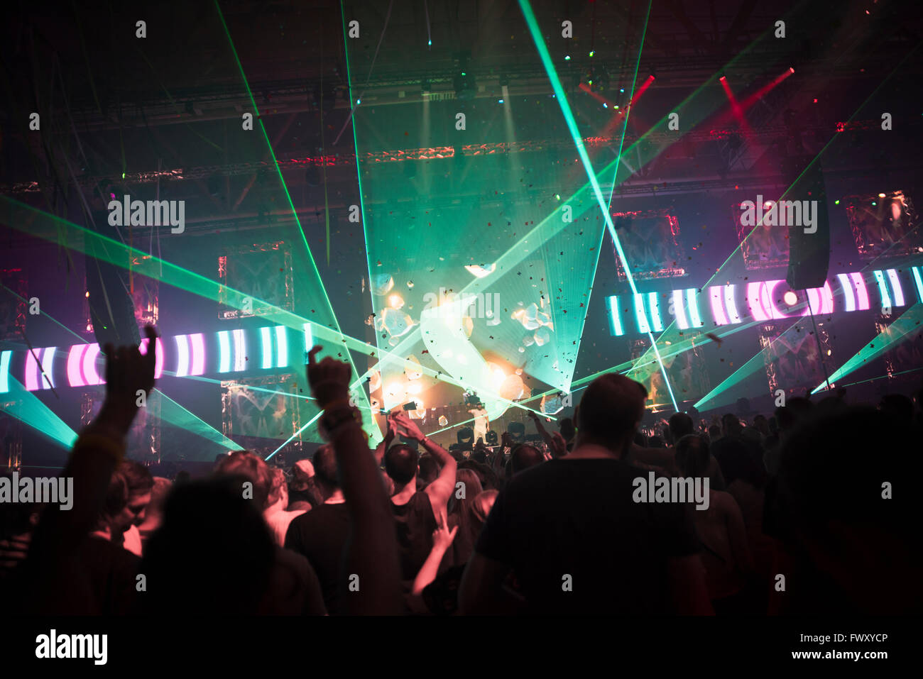 Finland, Uusimaa, Helsinki, Cheering audience at Summer Sound Festival - Stock Image