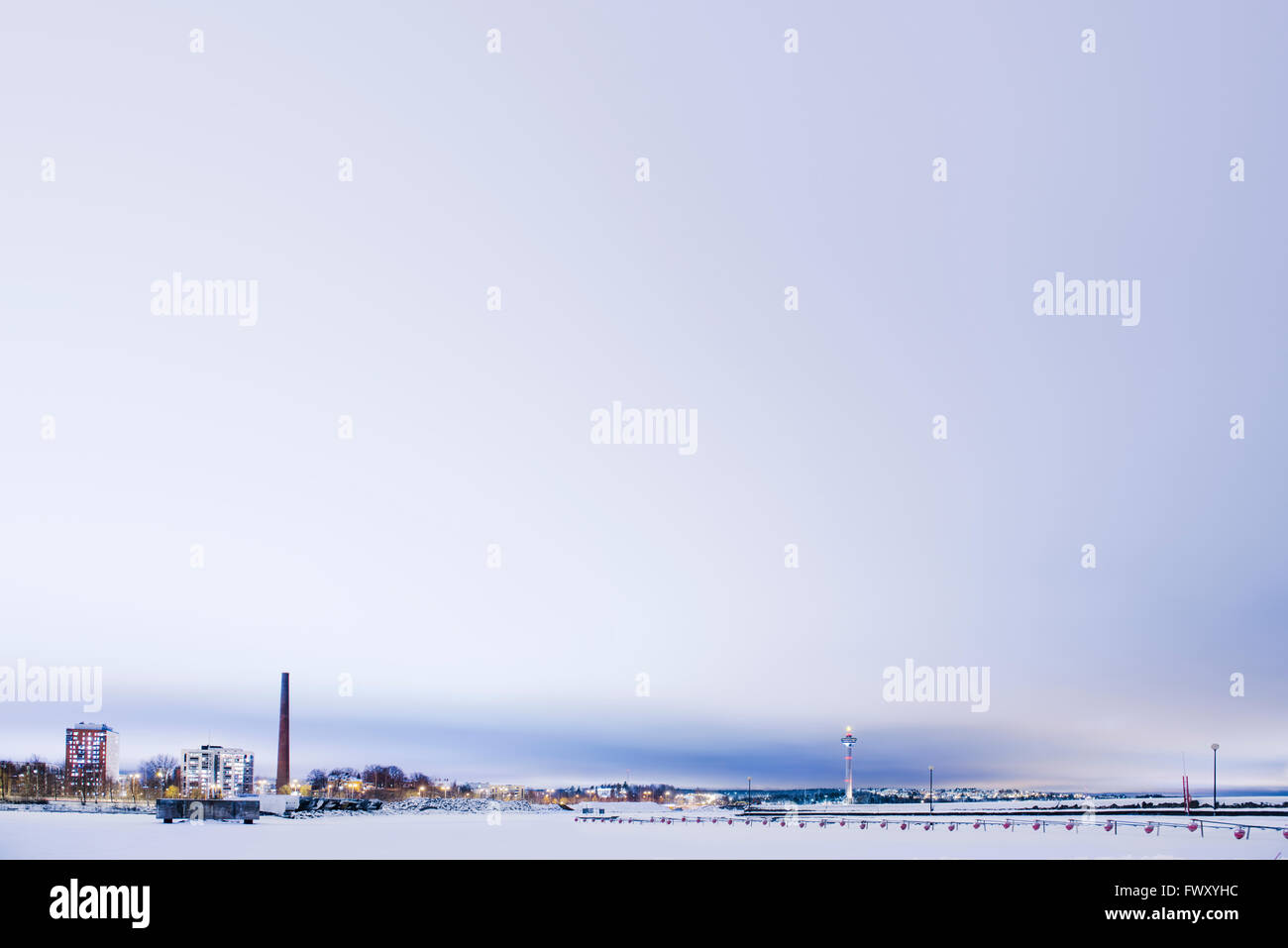 Finland, Pirkanmaa, Tampere, Winter scene with towers Stock Photo