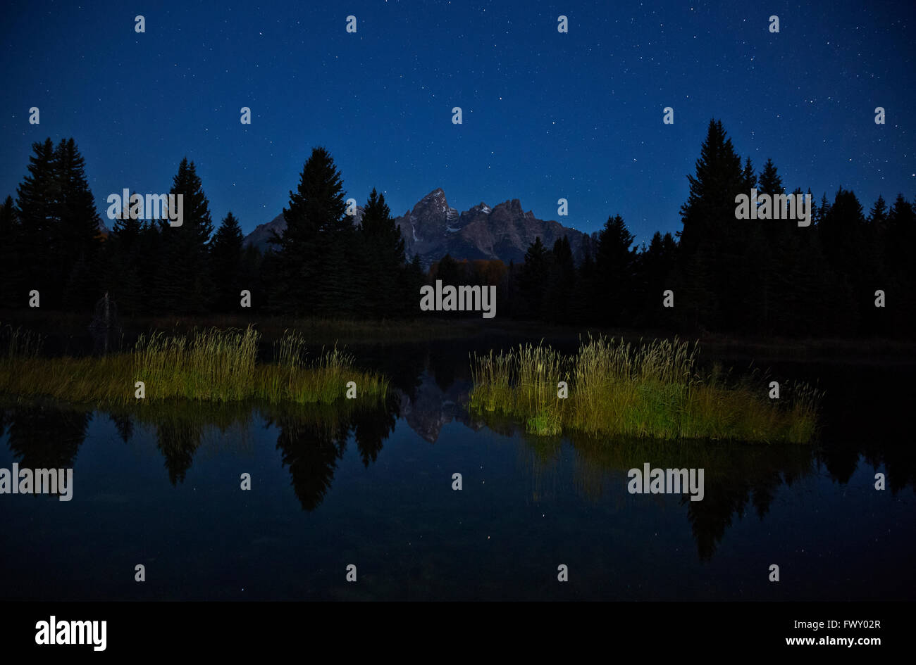 WYOMING - Stars lingering in the dawn sky at Schwabacher Landing on the Snake River in Grand Teton National Park. - Stock Image