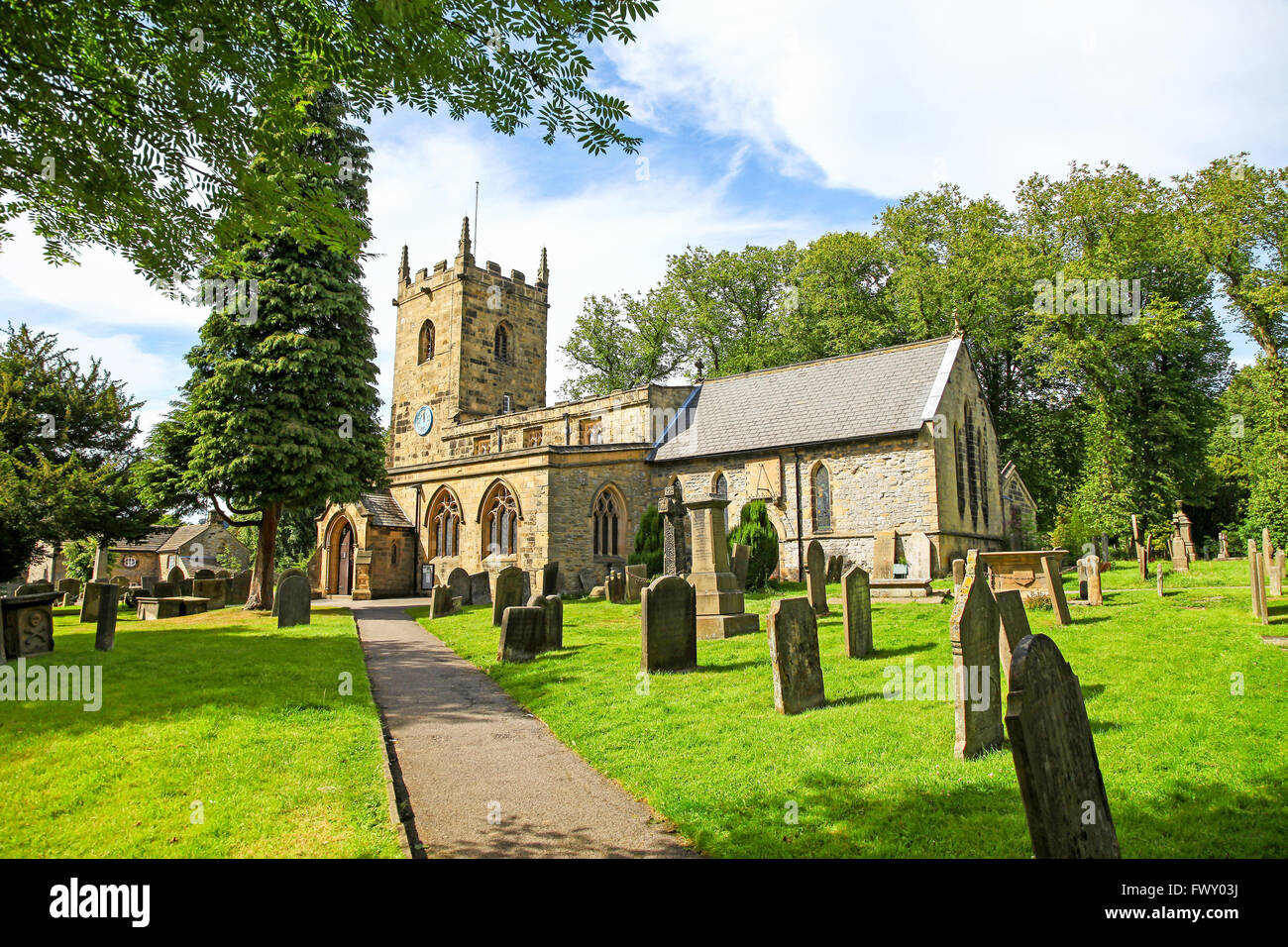St Lawrence's parish Church Eyam Derbyshire England UK - Stock Image
