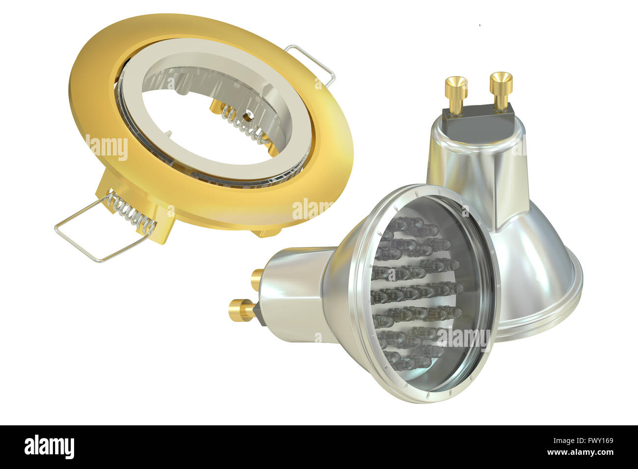 recessed light with LED (Light Emitting Diode) lamps, 3D rendering - Stock Image