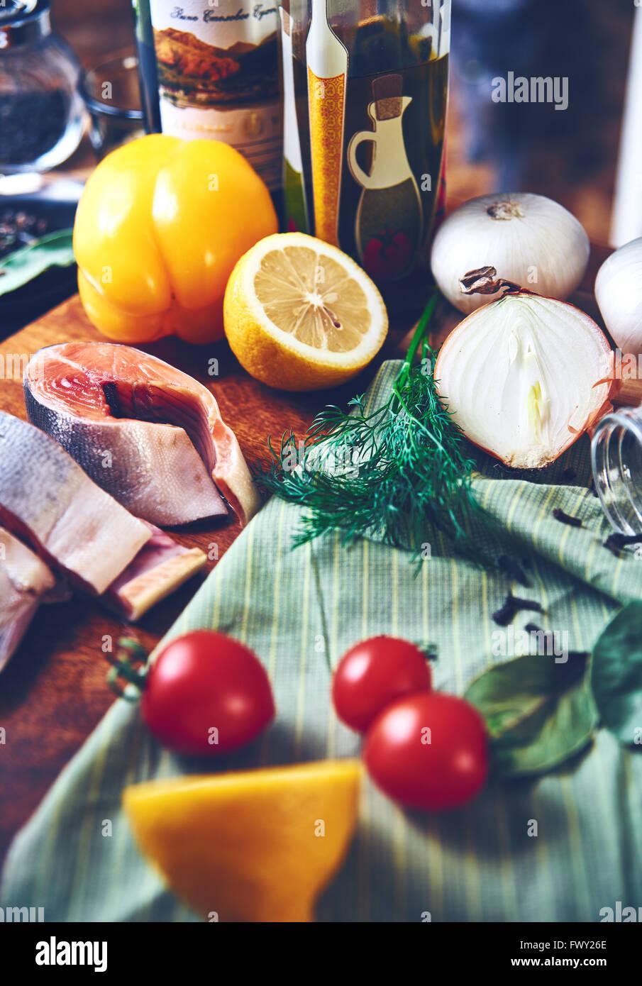 Still fish vegetables - Stock Image