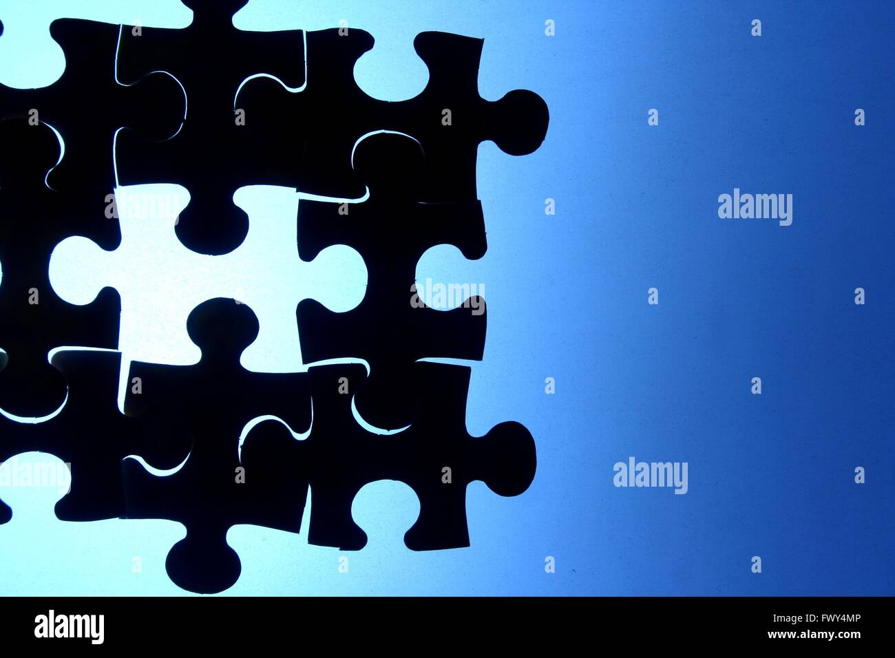Puzzle, game, play, blue, puzzle piece, hole, missing, solution, problem, solve, solving, jigsaw, jigsaw puzzle, - Stock Image