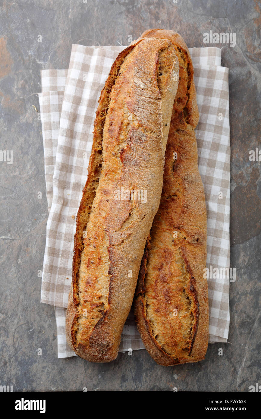 baguettes top view, artisan breads - Stock Image