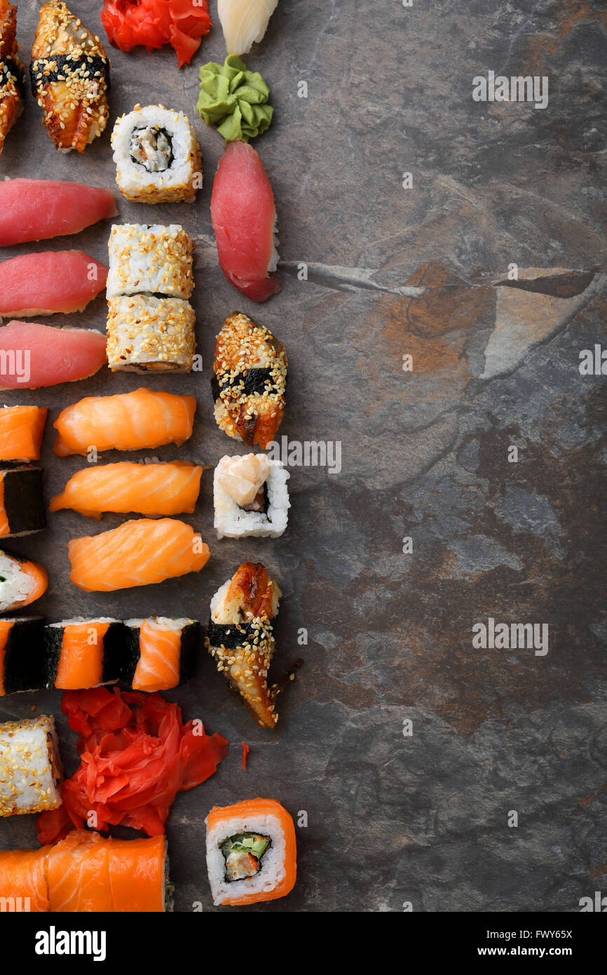 asian food background (sushi set), top view - Stock Image