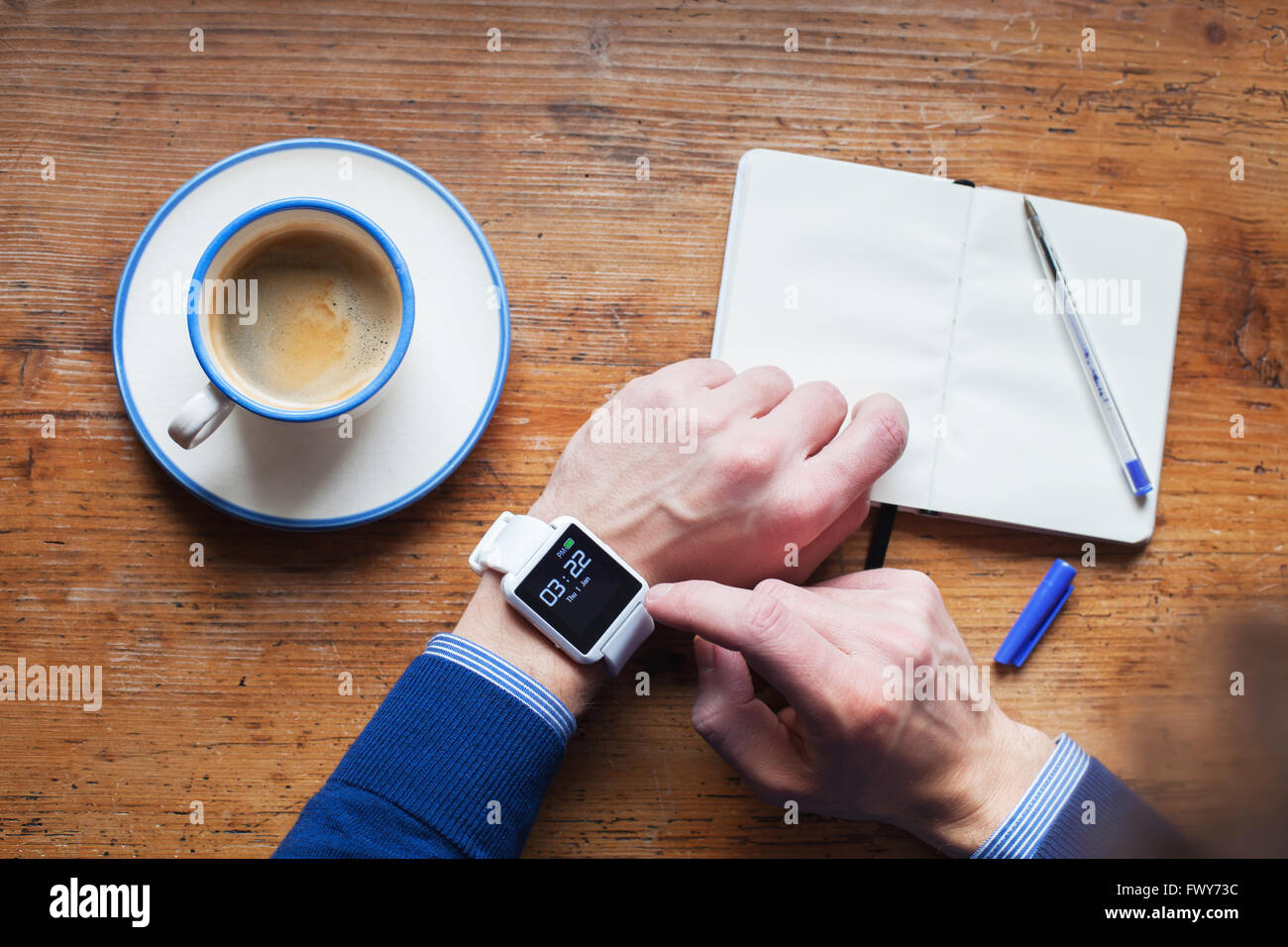 man using smart watch, time management and reminder - Stock Image