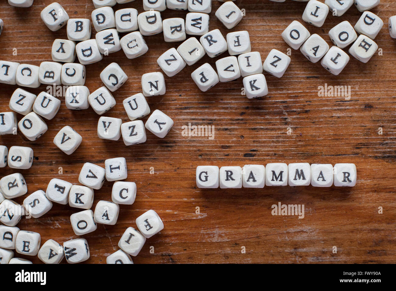 grammar, learn language concept, word from wooden letters - Stock Image