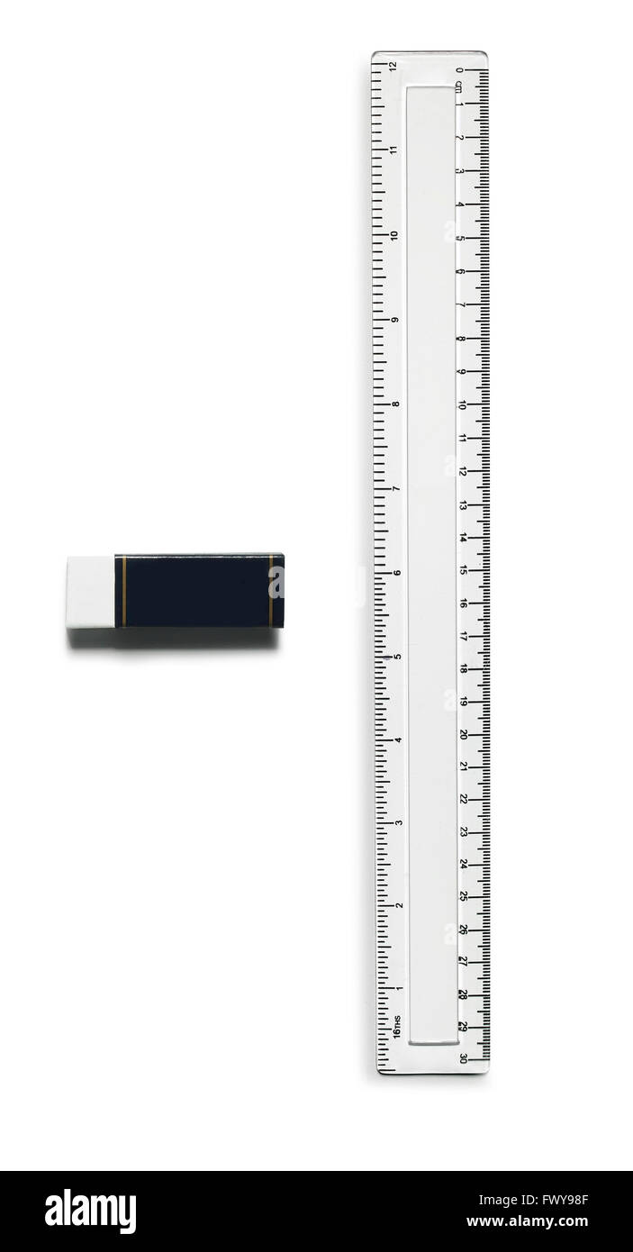 Ruler and rubber - Stock Image