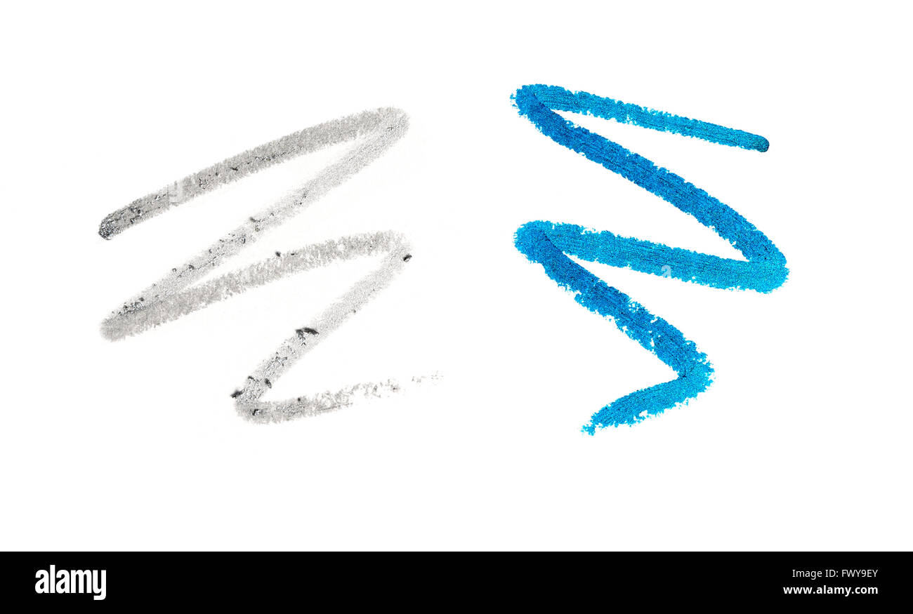 2 squiggles of eye liner pencil - Stock Image