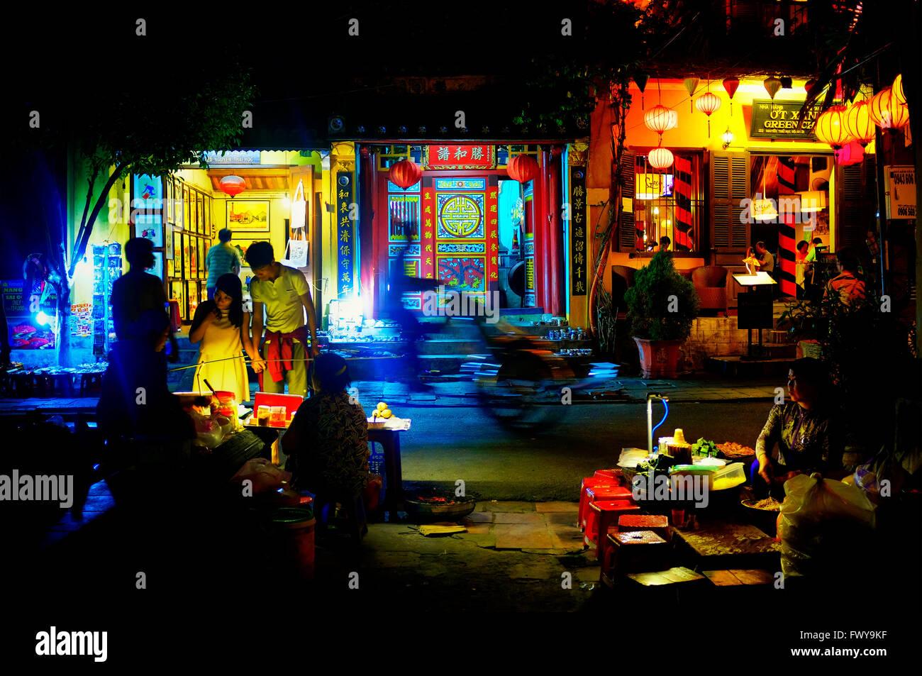 Nguyen Thai Hoc street at night, Hoi An, Vietnam - Stock Image